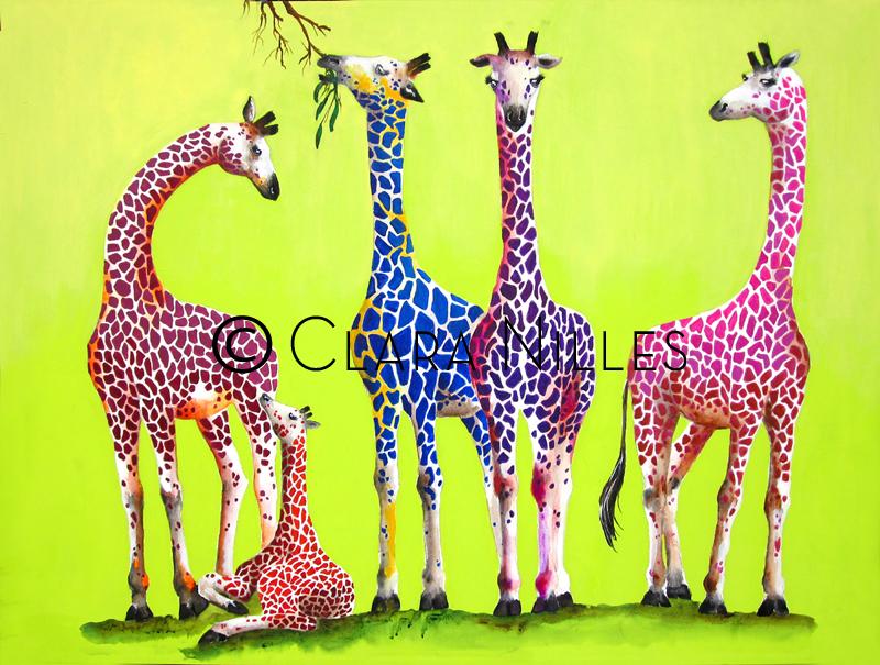 Giraffe Family on Spring Green - Clara Nilles