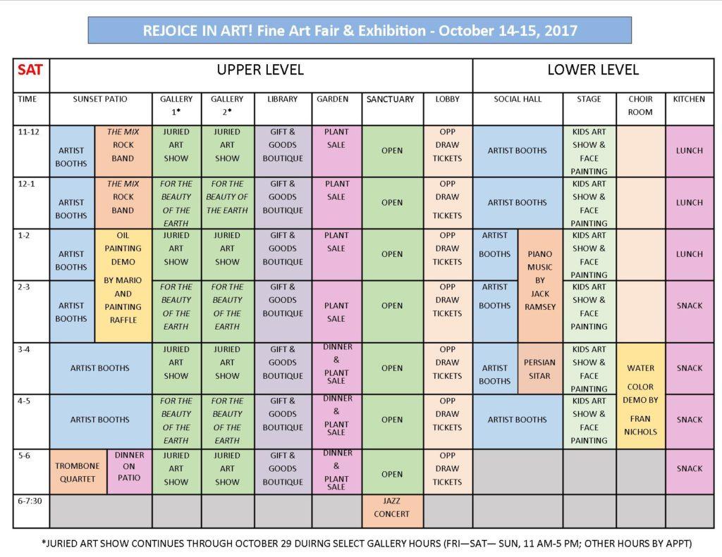 Rejoice in Art Events Schedule - Saturday October 14, 2017