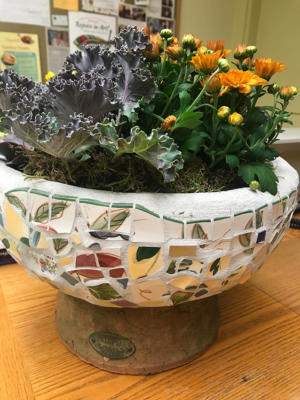 Original Mosaic Pot With Succulents