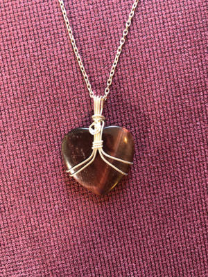 Tiger's Eye Heart Sterling Silver Necklace
