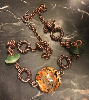 Handmade Copper Necklace with Lampwork and Glass Beads