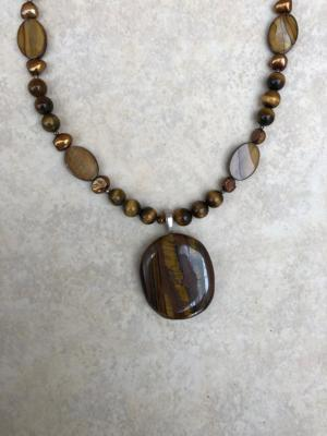 """Tiger Eye Pendant and 20"""" Necklace with Pearls/Shells"""